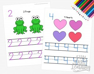 Numbers 1-20 Worksheets for Preschool and Kindergarten. Fun activities and guided lessons for writing practice. Great for learning in the classroom and at home!