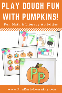 Play Dough Fun with Pumpkins math and literacy centers! Fun fall activities for learning math, numbers, letters, phonics and more! #fallactivities #mathcenters #literacycenters #funearlylearning