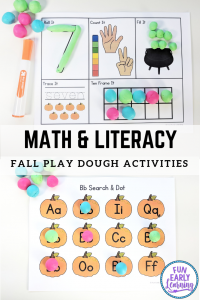 Fun fall activities for kids! Our Play Dough Fun with Pumpkins activities are great for preschool, kindergarten and elementary! Use at home or in the classroom. #fallactivities #mathactivities #literacyactivities #funearlylearning