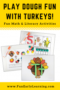 Play Dough Fun with Turkeys Math & Literacy Activities! 8 different activities for learning letter identification, letter formation, number identification, counting, quantifying, and more! Fun hands-on activities that are perfect for toddlers, preschool, kindergarten, RTI, and early childhood! #fall #fallactivities #preschoolfallactivities #kinidergartenfallactivities #Thanksgiving #Thanksgivingactivities #literacycenter #Mathcenter #alphabet #numbers #counting #preschool #kindergarten