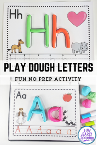 Alphabet Activities for preschool and kindergarten! Play Dough Letter Fun printable for teaching letter recognition and writing. #alphabetactivity