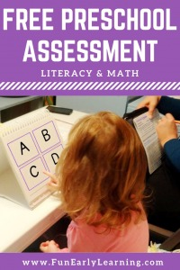 Fun Early Learning FREE Full Assessment for PreK and Preschool. Is your child ready for kindergarten? Use our assessment, flash cards, and score card to determine if your child is ready! #preschoolassessment #kindergartenprep #freeprintable