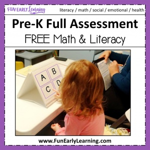 Fun Early Learning FREE Full Assessment for PreK and Preschool.. Is your child ready for kindergarten? Use our assessment, flash cards, and score card to determine if your child is ready! #preschoolassessment #kindergartenprep #freeprintable