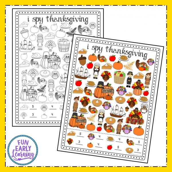 I Spy Thanksgiving Free Printable! Fun holiday kid's activity for finding, matching, and counting Thanksgiving pictures. Fun activity for preschool, kindergarten and early childhood! #thanksgiving #freeprintable #thanksgivingmath