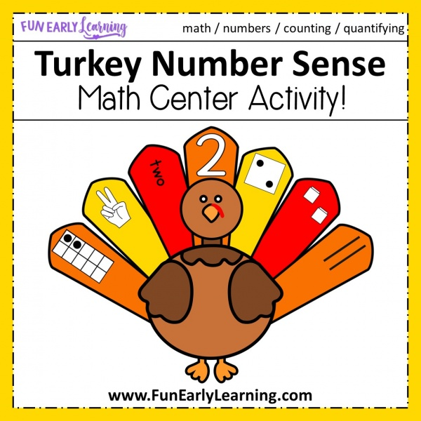 Turkey Number Sense Math Activity! Fun Thanksgiving activities for preschool and kindergarten! Teach numbers and counting with these fun turkeys! #thanksgivingactivity #mathcenter #funearlylearning