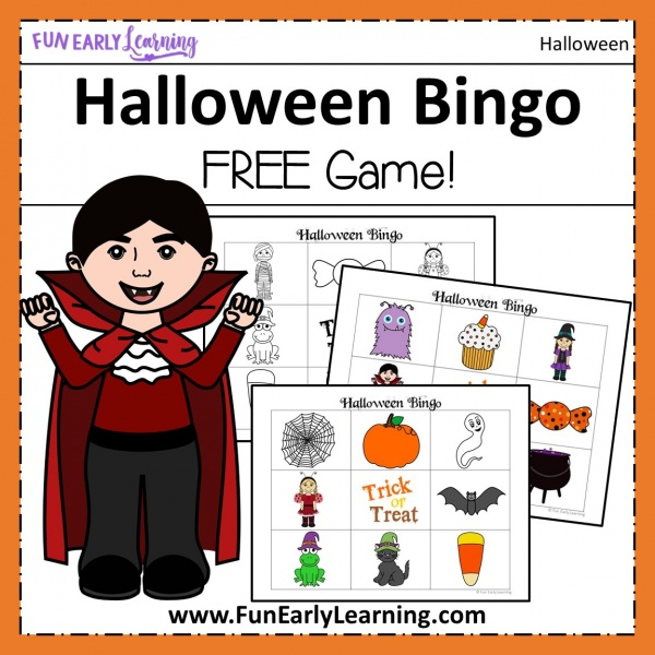 Halloween Bingo Game free printable for kids! Fun for a party in the classroom or at home. #halloweenbingo #freeprintable #funearlylearning