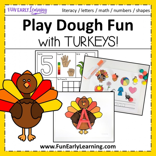Play Dough Fun with Turkeys Math & Literacy Activities! 8 different activities for learning letter identification, letter formation, number identification, counting, quantifying, and more! Fun hands-on activities that are perfect for toddlers, preschool, kindergarten, RTI, and early childhood! #fallactivities #Thanksgiving #literacycenter #mathcenter