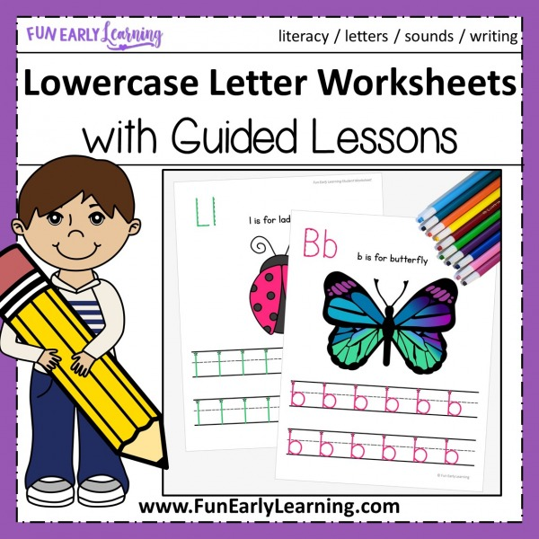 Lowercase Letters Worksheets with Guided Lessons Fun no prep printable for kindergarten and preschool. Great for teaching handwriting, letters, and beginning sounds.