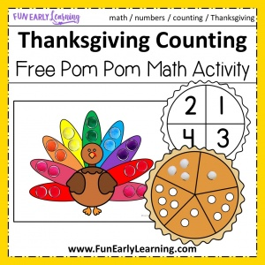 Download Our Thanksgiving Pom Pom Counting Free Printable today! It's a fun holiday kid's activity for number recognition, counting, quantifying and early math skills. Perfect for preschool, kindergarten, and early childhood. #thanksgiving #freeprintable #thanksgivingmath