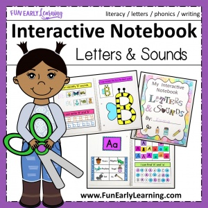 Fun Interactive Notebook for Letters & Sounds! Great hands-on activities and printable for preschool and kindergarten learning letters, phonics and writing. #interactivenotebook #literacycenter #funearlylearning