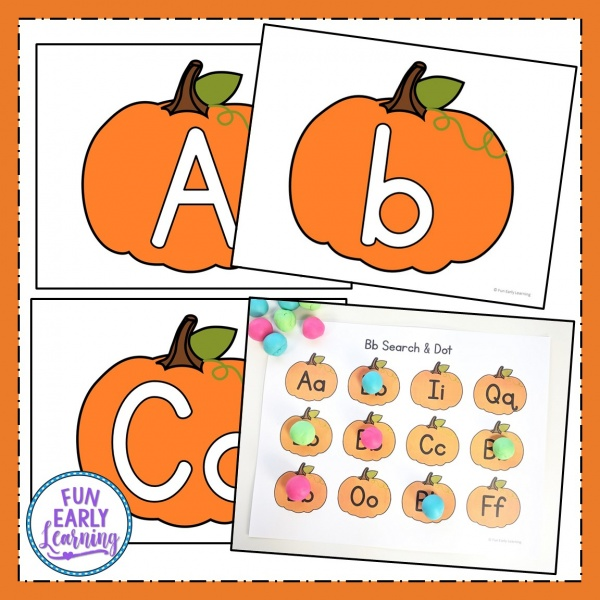 Play Dough Fun with Pumpkins Math & Literacy Activities! 7 different activities for learning letter identification, letter formation, number identification, counting, quantifying, and more! Fun hands-on activities that are perfect for toddlers, preschool, kindergarten, RTI, and early childhood! fall #Halloween #Thanksgiving #literacycenter #mathcenter