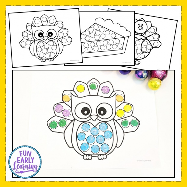 Fun Thanksgiving Activity for Kids! Bingo Dauber Coloring Pages is an easy craft printble for preschool and kindergarten. #freeprintable #thanksgivingcraft #funearlylearning