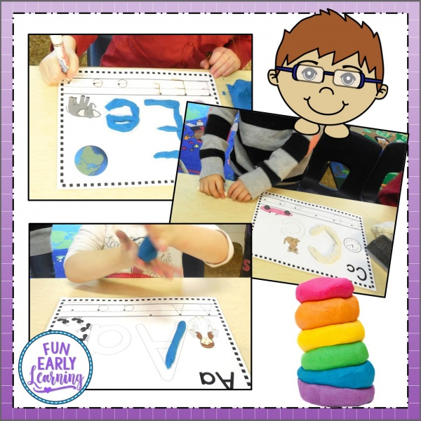 Play Dough Letter Fun Literacy Activity! Fun hands-on activity for kid's learning letter recognition, letter identification, letter-sounds, phonics and writing! Perfect for preschool, kindergarten and early childhood. #literacycenter #phonics #handwriting