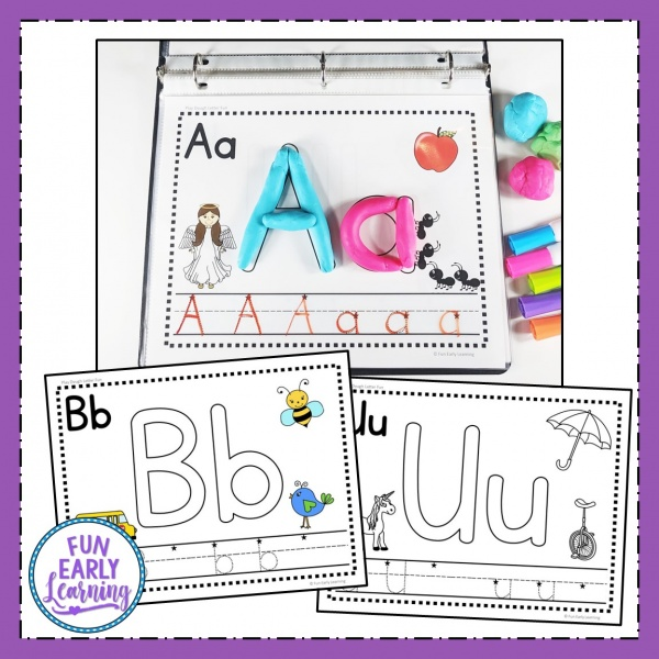 Play Dough Letter Fun Alphabet Activity! Fun hands-on printable for preschool, kindergarten and first grade! #alphabetactivity #funearlylearning