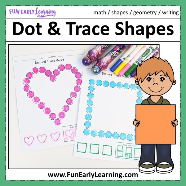 Dot and Trace Bundle for Letters, Numbers, and Shapes! Great activities for uppercase and lowercase letter recognition, number recognition, and shape recognition and writing. Perfect for preschool, kindergarten.