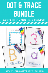 Fun Dot and Trace Bundle for learning uppercase and lowercase letters, numbers, and shapes! Perfect for learning writing and fine motor skills in preschool and kindergarten.