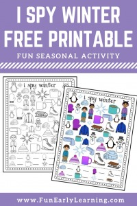 I Spy Winter Free Printable. Fun matching and counting activity for preschool, kindergarten, RTI and early childhood! #winteractivity #freeprintable #counting