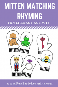 Mitten Matching Rhyming Activity. Fun literacy activity for learning rhyming and matching! Great activity for preschool, kindergarten, RTI and early childhood. #rhyming #literacycenter #funearlylearning