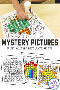 Fun Alphabet Activities for Preschool, PreK and Kindergarten! Mystery Letters Pictures Printable is great for teaching letter identification and fine motor skills! #morningwork #preschoolactivity #funearlylearning