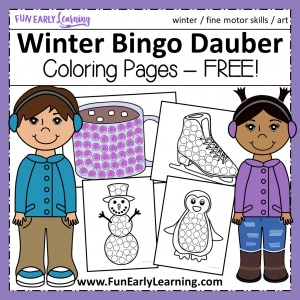 Winter Bingo Dauber Coloring Pages Free Printable! Fun free printable for winter and Christmas. Great for preschool, pre-k, kindergarten, and early childhood! #winteractivity #freeprintable