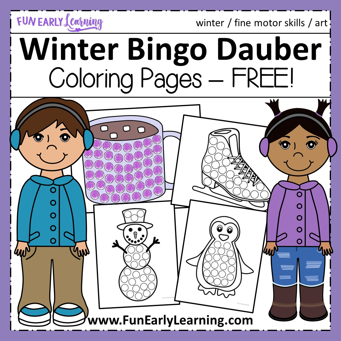 download free to instantly download winter bingo dauber coloring pages