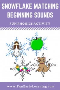 Snowflake Matching Beginning Sounds Activity! Fun, hands-on phonics activity for learning initial sounds and matching! Great for preschool, kindergarten, RTI and early childhood. #beginningsounds #initialsounds #phonics #literacycenter #funearlylearning