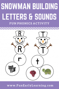 Snowman Building Letters & Sounds Winter Activity. Fun hands-on activity for learning uppercase and lowercase letters, phonics and initial sounds. Perfect for preschool, kindergarten, RTI and early childhood. #phonics #alphabetactivity #funearlylearning