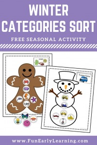 Winter Categories Sorting Speech Activity and free printable! Great activity for learning speech, articulation, sorting and matching. Perfect for preschool, prek, and kindergarten. #speech #articulation #freeprintable #winteractivity