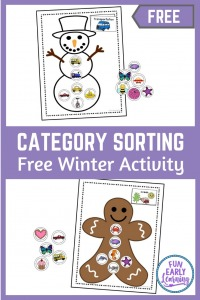 Winter Categories Sorting free printable! Great activity for sorting and matching. Perfect for at home learning or in school in preschool, prek, and kindergarten. #mathcenter #freeprintable #winteractivity