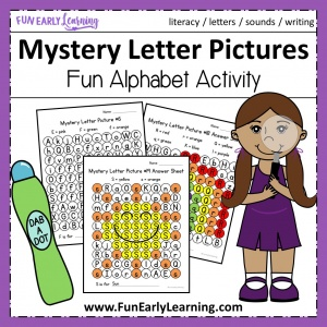 Mystery Letter Pictures Alphabet Activity. Fun no prep activity for learning letter recognition, letter identification, letter sounds and fine motor skills! Great for preschool, kindergarten, RTI and early childhood. #alphabetactivity #letteractivity #literacycenter #funearlylearning