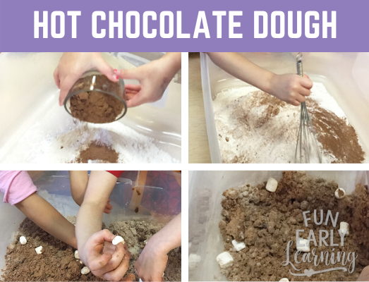 Hot Chocolate Cloud Dough Sensory Bin. Perfect winter activity for toddlers, preschool, kindergarten and early childhood! #hotchocolateclouddough #sensorybin #funearlylearning