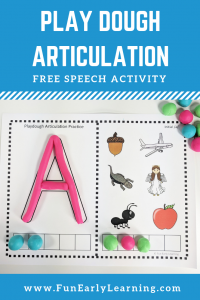 Play Dough Articulation Practice Speech Activity! Fun free printable for learning initial sounds / beginning sounds, phonics, speech and articulation. Perfect for preschool, kindergarten, RTI, speech therapy, and early childhood. #articulation #freeprintable #funearlylearning