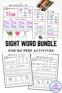 Fun Sight Words Activities for Pre K, Kindergarten and First Grade! Sight Word Practice Bundle No Prep Printables! #sightwords #noprep #funearlylearning