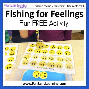 Fishing for Feelings Free Game! Fun feelings activities for kids. Great free printable for teaching emotions in preschool and kindergarten.
