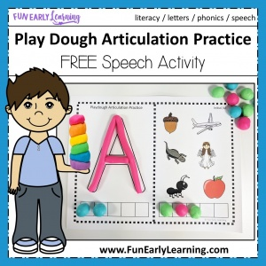 Play Dough Articulation Practice Speech Activity! Fun free printable for learning initial sounds / beginning sounds, phonics, speech and articulation. Perfect for preschool, kindergarten, RTI, speech therapy, and early childhood. #articulation #speechtherapy #beginnignsounds #freeprintable #funearlylearning