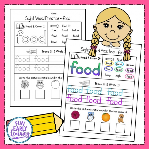 Sight Words Kindergarten and Preschool Printables! Fun Sight Word Practice Activities and Worksheets for at home and in school. Great for teaching Fry's List. #sightwords #printables #funearlylearning