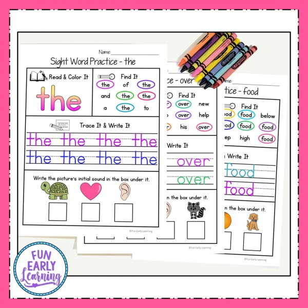 Sight Words Kindergarten and Preschool Printables! Fun Sight Word Practice Activities and Worksheets for at home and in school. Great for teaching Fry's List.