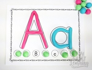 Play Dough Letter Mats Literacy Activity. Fun no prep activity for learning letter identification, letter formation and matching! Perfect for preschool, kindergarten, RTI and early childhood. #alphabetactivity #literacycenter #funearlylearning