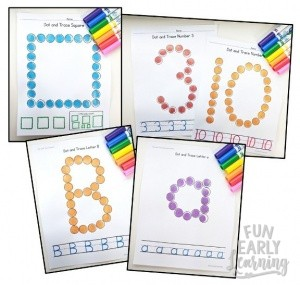 Dot and Trace Bundle for Letters, Numbers, and Shapes! Great activities for uppercase and lowercase letter recognition and formation, number recognition and formation, and shape recognition and formation. Perfect for preschool, kindergarten, RTI, and early childhood. #literacycenter #mathcenter #funearlylearning