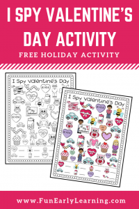 I Spy Valentine's Day free holiday printable! Fun activity for Valentine's Day and early math skills as children work on counting and matching. Great for preschool and kindergarten! #valentinesday #funearlylearning