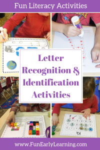 Letter Recognition and Letter Identification Activities! Fun hands-on and no prep activities for toddlers, preschool, and kindergarten! Perfect for parents and teachers teaching children the alphabet.  #letterrecognition #letteridentification #funearlylearning