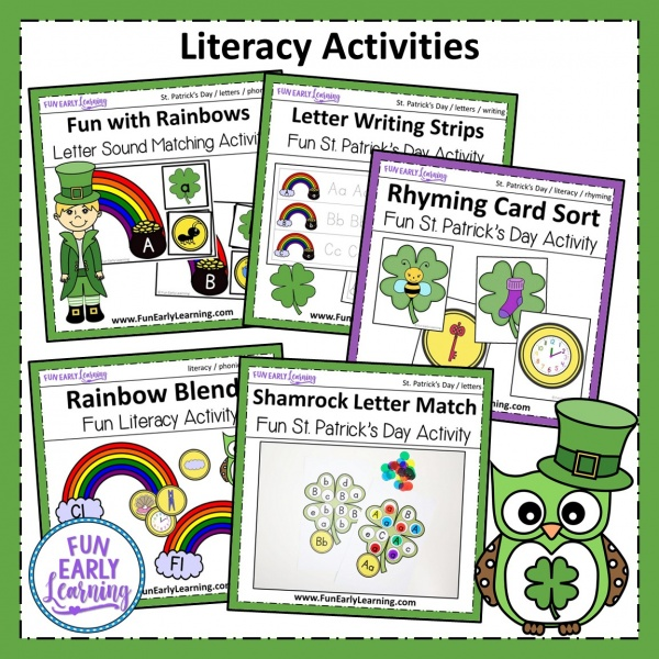 St. Patrick's Day Bundle for Letters, Phonics, Blends, Numbers, Math and More activities! These activities are great for preschool and kindergarten. Enjoy literacy centers, math centers, art projects, sensory bin and more! #stpatricksday #funearlylearning