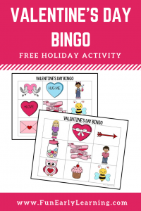 Valentine's Day Bingo Free Printable! Fun Valentine's Day activity / game for preschool, kindergarten and early childhood! #valentinesday #freeprintable #funearlylearning