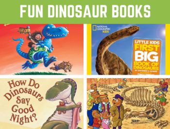 Our Favorite Dinosaur Books for Preschool and Kindergarten. Learn about dinosaurs with these fun and educational stories. Great addition to a dinosaur theme! #dinosaurs #readinglist #funearlylearning