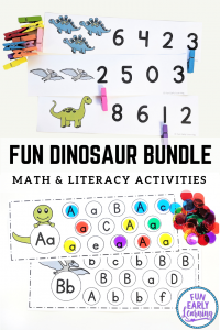 Fun Dinosaur activities for kids! Dinosaur theme math and literacy printables and centers for preschool and kindergarten. #dinosaurtheme #dinosaurs #funearlylearning