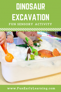 Dinosaur Excavation Sensory Bin! Fun dinosaur themed activity for preschool and kindergarten! #dinosaurtheme #sensoryplay #funearlylearning