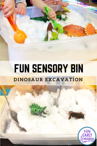 Dinosaur Sensory Bin for Excavation Play. Fun dinosaur activity for preschool, kindergarten, toddlers, and children. #dinosaurtheme #sensorybin #funearlylearning