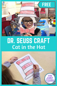 Fun Dr. Seuss Cat in the Hat craft for kids! Free printable / free craft for preschool and kindergarten. Quick and easy cut and paste craft.