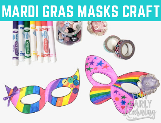 Mardi Gras Free Kid's Craft! Fun free printable art project for children to celebrate Mardi Gras.