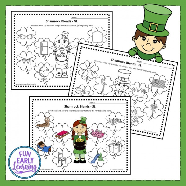 Free Shamrock L Blends Phonics Activity. Fun free printable for learning phonics, blends, articulation and speech. Great for preschool, kindergarten, prek and speech therapy.